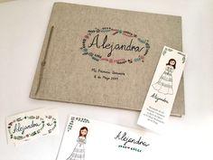 Libro de firmas, recordatorios e invitaciones para la comunión de Alejandra #recuerdos #comuniones