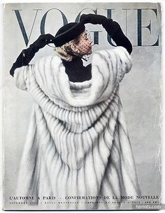 Cover of 'Vogue Paris', November 1950 - featuring Jacques Fath, Tom Keogh, Colette, Associated Haute Couture Fabrics (photo by Irving Penn) Vogue Vintage, Capas Vintage Da Vogue, Vintage Vogue Covers, Vintage Mode, Vintage Glamour, Vogue Magazine Covers, Fashion Magazine Cover, Fashion Cover, Club Fashion