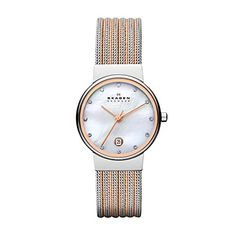 Skagen Women's 355SSRS Ancher Two Tone Silver and Rose Mesh Watch * More info could be found at the image url.