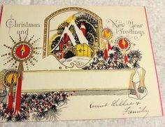 Vintage Christmas and New Year Greetings Card Gold Embossed 1920s Candles Snow Scene by collectiblejewels on Etsy