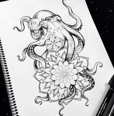 ideas nature tattoo sketch butterflies for 2019 Octopus Tattoo Sleeve, Octopus Tattoo Design, Design Tattoo, Sleeve Tattoos, Tattoo Designs, Kraken Tattoo, Mandala Thigh Tattoo, Foot Tattoos, Forearm Tattoos