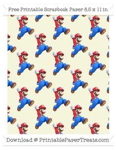 무료 베이지 대형 마리오 패턴 종이 - 슈퍼 마리오 브라더스