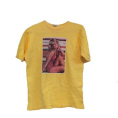 1970's Farrah Fawcett Classic Soft Vintage T-shirt 1976 ($75) ❤ liked on Polyvore featuring tops, t-shirts, vintage t shirts, vintage tees, flat top and vintage tops