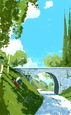by Pascal Campion Art Et Illustration, Landscape Illustration, Landscape Art, Landscape Paintings, Landscapes, Pretty Art, Cute Art, Posca Art, Anime Scenery