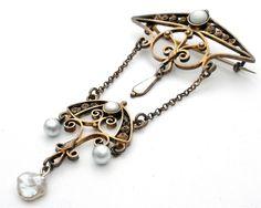 Art Nouveau Sterling Silver Pearl White Enamel Estate Antique Brooch | eBay