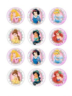 "Single Source Party Supply - 2.5"" Disney Princess Cupcake Edible Icing Images"