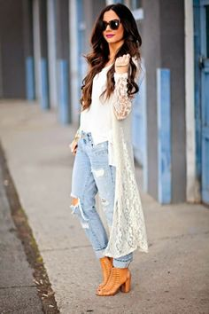 Love her look!  Holey jeans white tee and lace duster. Women's spring street style fashion clothing outfit