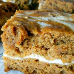 Cream cheese pumpkin roll bars, these are probably goooooooooood!