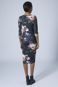 Blur Rose Print Midi Bodycon Dress