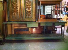 Bancone da lavoro in ferro e legno