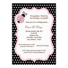 5x7 Black Lady Bug Birthday Party Invite