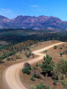 """Dirt Road Winding Through Range, Flinders Ranges National Park, Australia""=>"