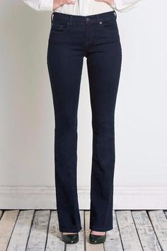 """The Micro Flare Jean is a maximum stretch jean that is form-fitting from the waist down with a flare from the calf down. This style is a subtle, softer take on the flare jean. It has a straight waistband, which sits below the waist. 5-pocket styling. Super Stretch Maximum stretch provides a form-fitting look creating flattering silhouettes. 34"""" Inseam."""