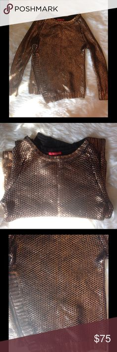 Bronze Foil Sweater A black chunky cable knit with bronze metallic foil overlay. Side zipper detail that does function and can be worn zippers down or up. Unique and fabulous. Sweater is not stiff is very soft. Hand wash in cold water inside out. 60% cotton 40% acrylic 😍 wear with black jeans, a tulle skirt, or leather skirt and boots. Will not disappoint! Check out Pinterest for so many ways to wear. Very 🔥 Saks Fifth Avenue Sweaters