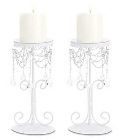 $14.95-$19.95 Set of 2 White Elegant Bead Wrought Iron Pillar Candle Holders [Misc.] - This refined wrought-iron candle stand boasts a glamorous dash of old-time Parisian elegance! Slender ivory curlicues form a stylish support for a thick pillar candle; lavish swags of glittering crystals turn the light into a dancing diamond display! Iron with acrylic beads. Candle not included. Set of 2. Size ...