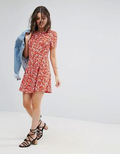 ASOS PETITE Mini Tea Dress In Floral Print £25.00 Free Shipping Worldwide COLOUR: Red