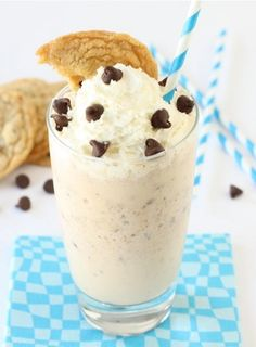 Chocolate Chip Cookie Milkshake Recipe on twopeasandtheirpod.com Chocolate chip cookies blended into ice cream-pretty much the best dessert of all time!