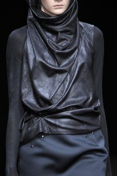 a.f. vandevorst / Leather vest hoodie/snood
