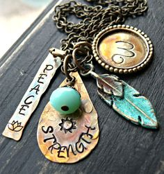 Hand Stamped Necklace - Personalized Necklace - Patina and Brass Feather Necklace - Inital Necklace on Etsy, $55.00