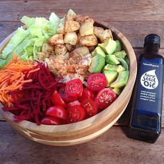 Raw till 4 dinner idea. No fat roast potatoes, crispy lettuce, carrots, beets, sauerkraut, avocado and cherry tomatoes, dressed with  hempseed oil. Raw till four 801010
