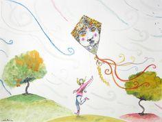 """""""Her new kite, Mr. Wind"""" 2013 Watercolor, pastel, chacroal & Ink on paper Canson 140 lbs 13.7 x 10.6 inches. Carlos Pardo  """"Su nueva cometa, el Señor Viento"""" 2013 Acuarela, pastel,carboncillo y tinta S/ papel Canson 300grs 35 x 27 cms Carlos Pardo Item 0518  www.ArtCarlosPardo.com"""