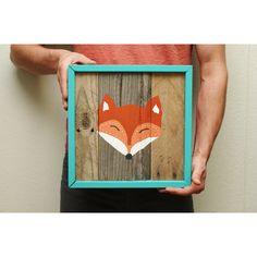 Fox Face Reclaimed Wood Painting (Made to Order) ($105) found on Polyvore
