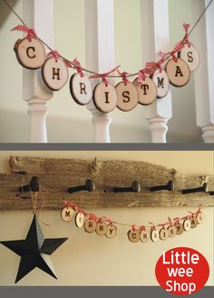 Merry Christmas Garland from Little Wee Shop on Etsy.  Great rustic home decor for the holidays.