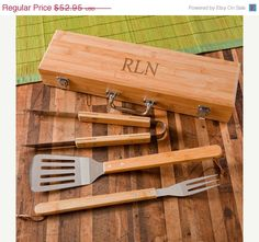Personalized Grilling Set with Bamboo Case - Grilling Tools for Dad - Father's Day Gift - Groomsmen Gift(RO112)