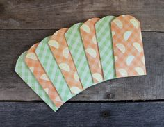Gift Card Envelopes ~ Mini Envelope ~ Cash Holder ~ Birthday, Bridal, Baby, Shower, Envelope ~ Gift Card Holder ~ Set of 8 ~ Green & Orange by MyLilCraftyRoom on Etsy