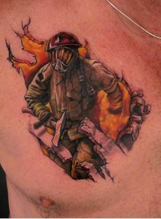 """Firefighter 3D tattoo. First """"firefighter"""" tattoo ive ever seen"""