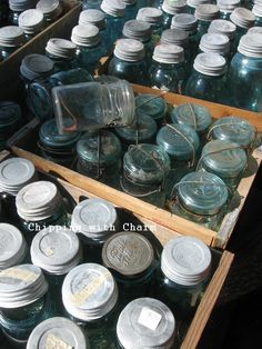 This reminds me of the huge box of old mason jars with the glass top lids that disappeared in our move 3 years ago.  Still wonder if the boys threw them out by accident, or if the haulers took them.  Hmmm  Makes me so sad to have lost all of them!