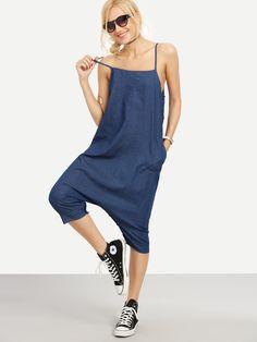 Buttoned Drop Crotch Blue Denim Overall Pants -SheIn(Sheinside)