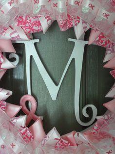 Breast Cancer Awareness Wreath. $40.00, via Etsy.