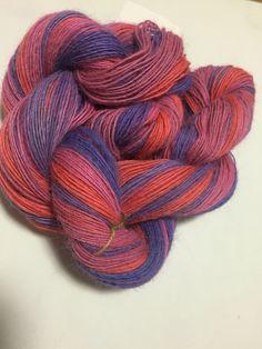 Handspun, hand dyed, 100% alpaca yarn singles