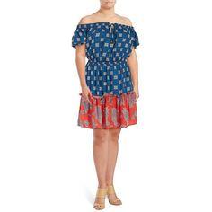 Jessica Simpson Plus Women's Ambroisa Printed Dress ($27) ❤ liked on Polyvore featuring plus size women's fashion, plus size clothing, plus size dresses, blue, keyhole dress, blue neck tie, blue necktie, blue off shoulder dress and tie neck dress