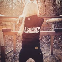 Outdoor gym session with the signature Stronger hoodie. | www.strongerlabel.com #hoodies