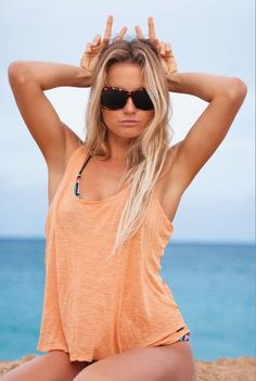 Alana Blanchard in the Farrah sunglasses by Spy Optics.