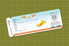 Printable Airplane Birthday Party Airline Ticket Invitation