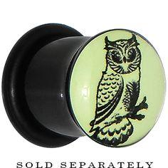 00 Gauge Acrylic Glow in the Dark Owl Plug   Body Candy Body Jewelry