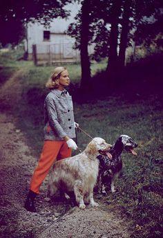 Patsy Pulitzer wearing fall fashions, 1954.