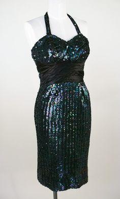 1960's black sequined wiggle dress
