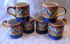 Set 6 Bicchieri/Tazzoni. Dipinti a mano. Decoro Geo/Floris, by ilciliegio, 45,00  su misshobby.com