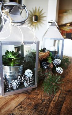 Draw inspiration from nature and fill lanterns with succulents and pine cones rather than pillar candles #holiday #christmas