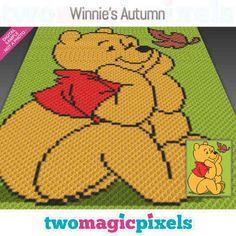 Graph Crochet, C2c Crochet, Crochet Quilt, Crochet Blanket Patterns, Baby Blanket Crochet, Cross Stitch Patterns, Crochet Blankets, Crochet Stitches, Winnie The Pooh Blanket