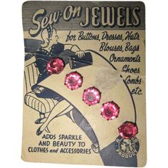 Vintage Rhinestone Buttons On Card, Deco Graphics