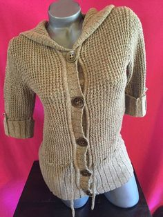 Maurices Light Brown Short Sleeve Hooded Sweater Size Medium #Maurices #Hooded