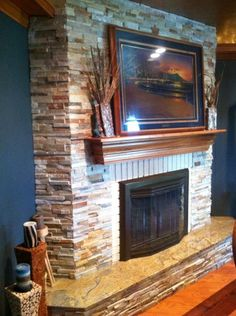 Full detail page on Copper Ceiling Fireplace with granite on hearth