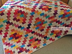 Busy Hands Quilts: Brick Cottage Lane in Boho by Island Batik - a Strip Pieced Pattern in 5 Sizes Baby Lap Twin Queen and King Bed Sizes - Yardage Friendly for Strip Piecing and Jelly Roll Friendly for Traditional Piecing Heart Quilt Pattern, Easy Quilt Patterns, Print Patterns, Block Patterns, Strip Quilts, Scrappy Quilts, Easy Quilts, Quilt Blocks, Quilting Blogs
