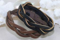 Braided Leather Bracelet Black or Brown Leather by ornatetreasures, $6.00