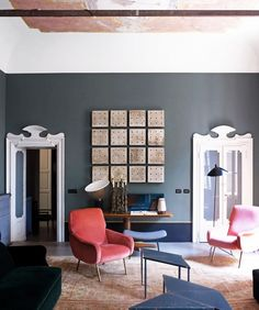 Gray living room with industrial art